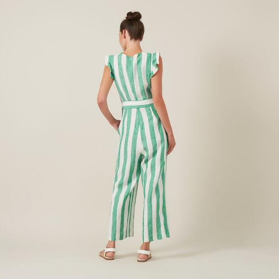 LINEN WIDE LEG JUMPSUIT  GREEN/WHITE  hi-res
