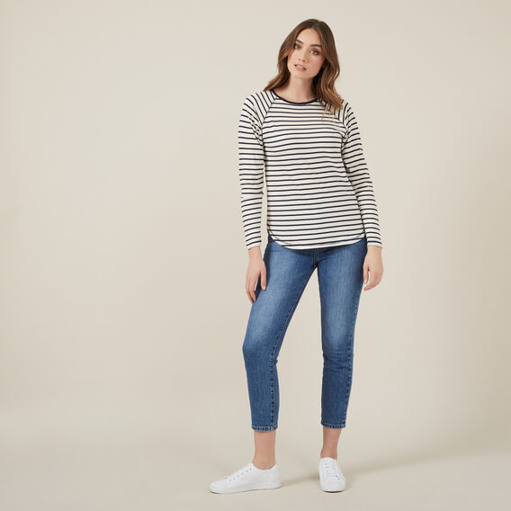 STRIPE RAGLAN TEE  NAVY/WHITE  hi-res