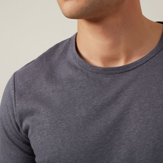 LINEN BLEND T-SHIRT  CHARCOAL  hi-res