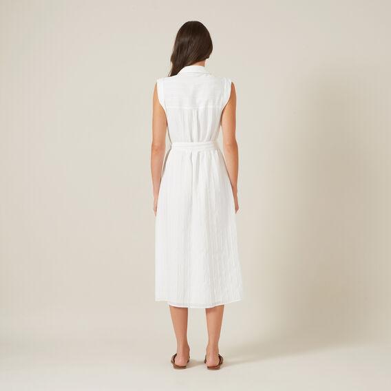 BELTED SHIRT MIDI DRESS  WHITE  hi-res