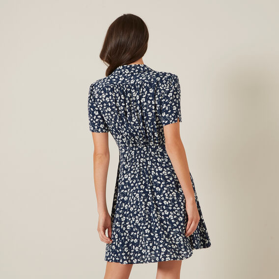 FLORAL MINI TEA DRESS  NAVY/OFF WHITE  hi-res