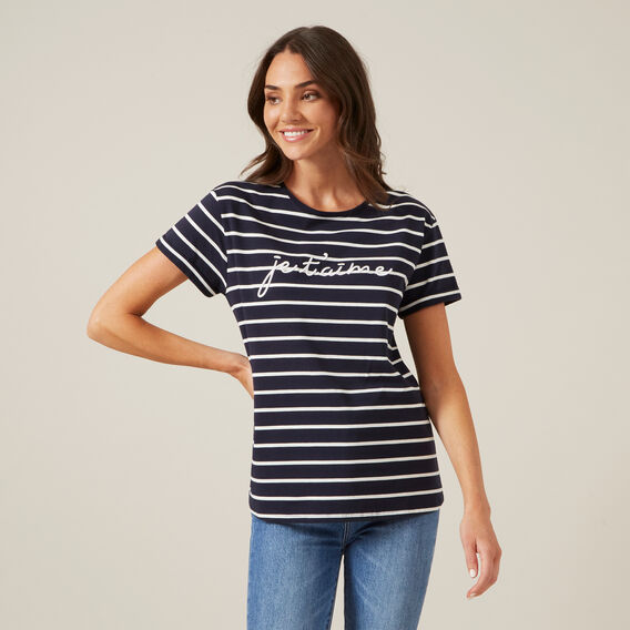 JE'TAIME EMBROIDERED T-SHIRT  NAVY/OFF WHITE  hi-res