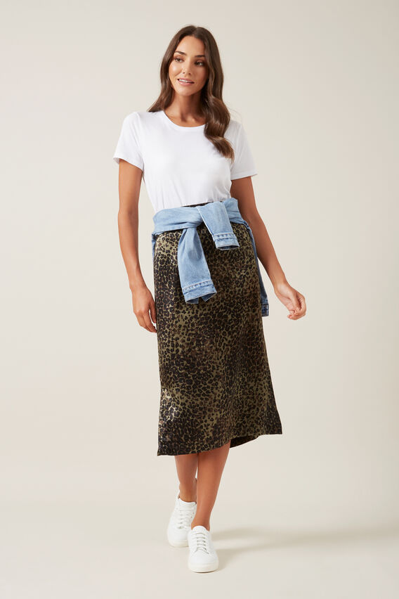 ANIMAL SLIP SKIRT  KHAKI  hi-res