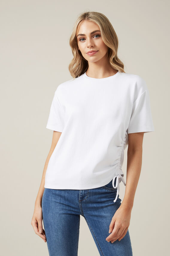 RUCHED T-SHIRT  WHITE  hi-res