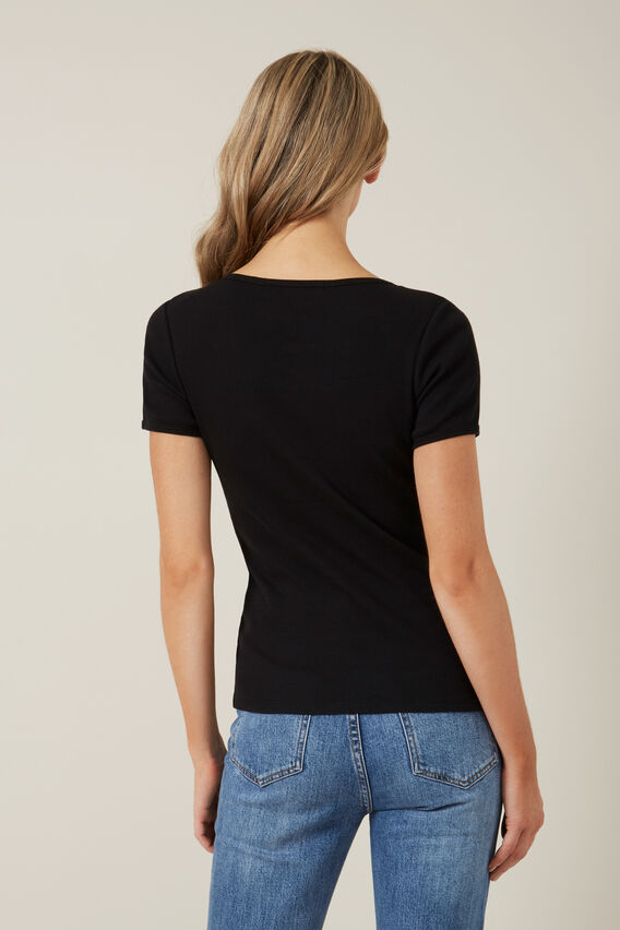 WIDE SCOOP RIBBED T-SHIRT  BLACK  hi-res