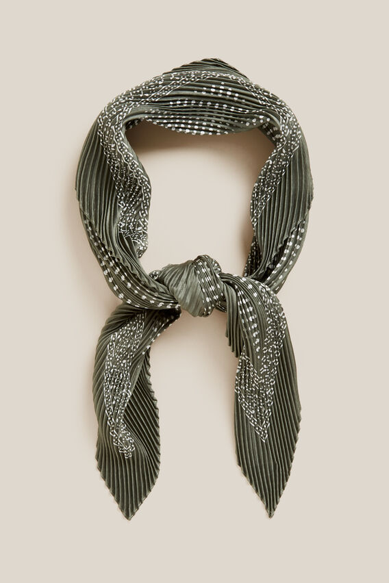 SPOT PLEATED SCARF  KHAKI/WHITE  hi-res