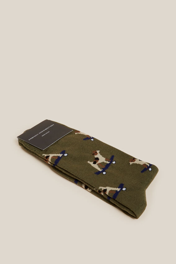 SKATEBOARD DOG 1PK SOCKS  KHAKI  hi-res