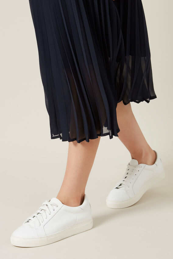 PLEATED SKIRT  NAVY  hi-res