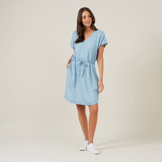 CHAMBRAY MINI DRESS  BLUE  hi-res