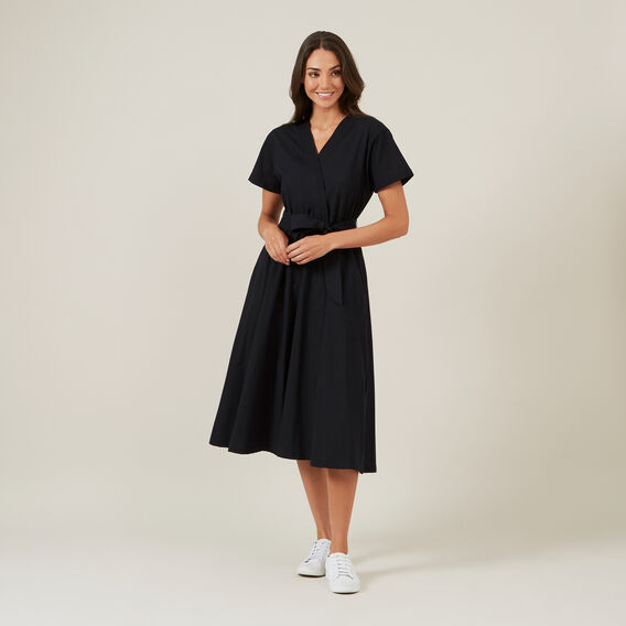 CROSS FRONT MIDI DRESS  BLACK  hi-res