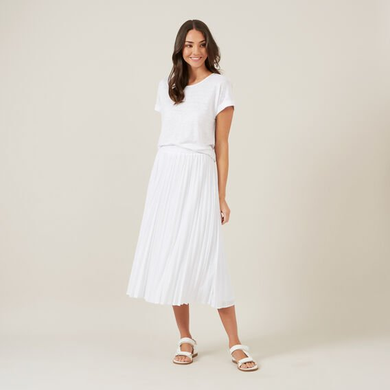 PLEATED TEXTURED SKIRT  WHITE  hi-res