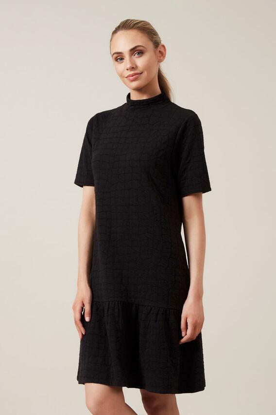 TEXTURED JERSEY FRILL DRESS  BLACK  hi-res