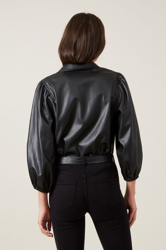 FAUX LEATHER PUFF SLEEVE SHIRT  BLACK  hi-res