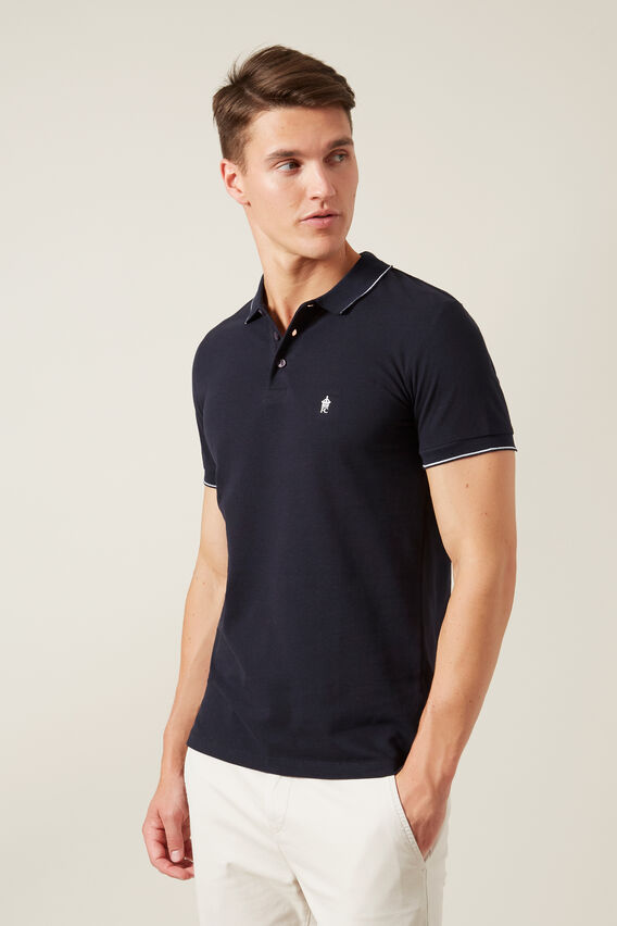 TIPPED PIQUE POLO  MARINE BLUE  hi-res