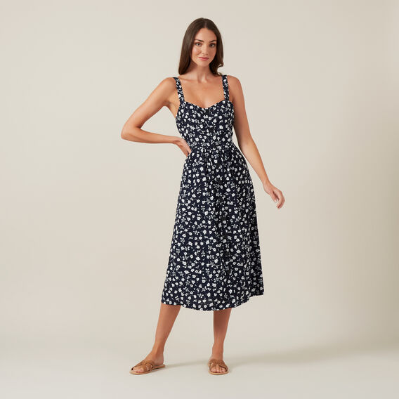 FLORAL BUSTIER DRESS  NAVY  hi-res