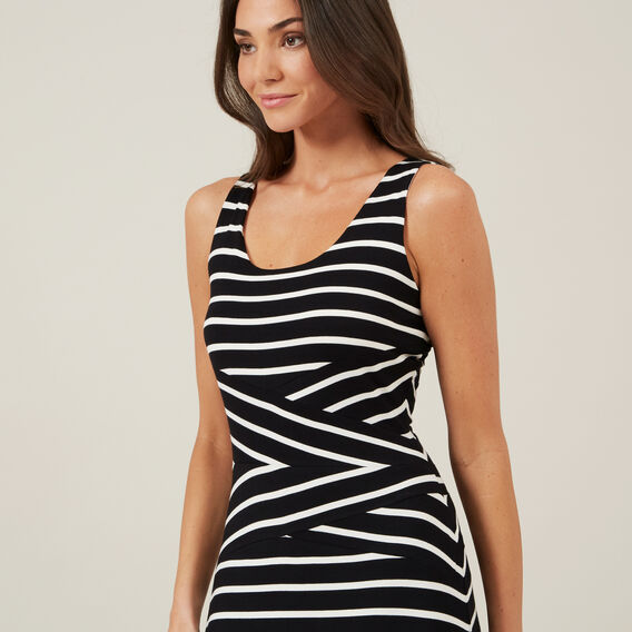 STRIPE JERSEY MAXI DRESS  BLACK/WHITE  hi-res