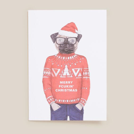 CHRISTMAS DOG CARD  WHITE  hi-res