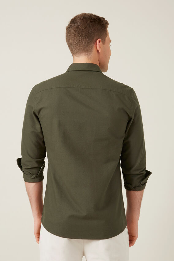 OXFORD SLIM FIT SHIRT  MILITARY GREEN  hi-res