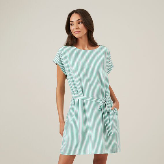 STRIPE BELTED DRESS  GREEN/MULTI  hi-res