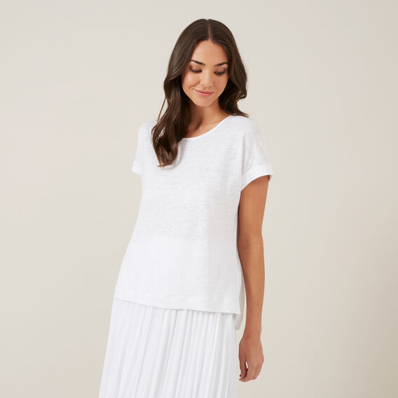 LINEN RELAXED TEE  WHITE  hi-res