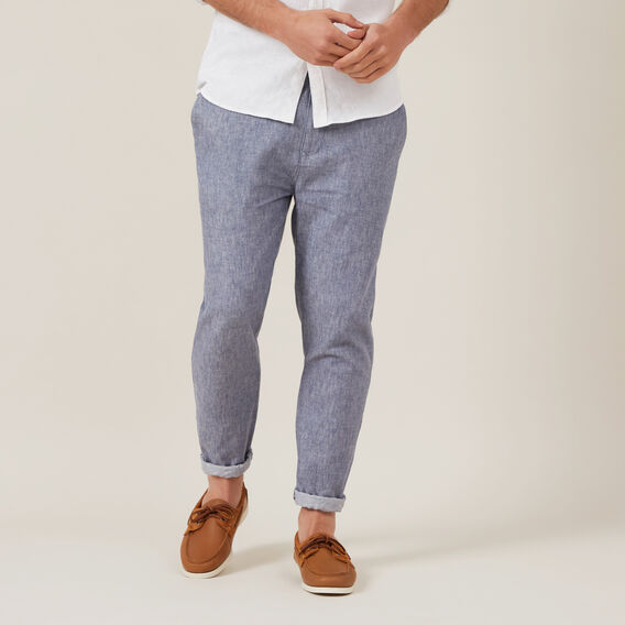 LINEN BLEND PULL ON PANT  INDIGO MELANGE  hi-res