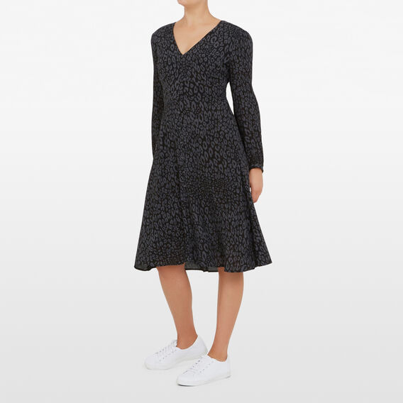 MONOCHROME ANIMAL PRINT DRESS  BLACK CHARCOAL  hi-res