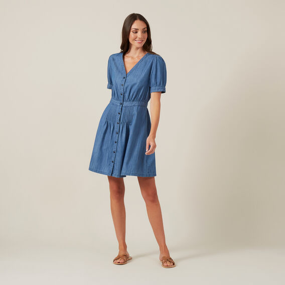 CHAMBRAY BUTTON UP DRESS  BLUE  hi-res