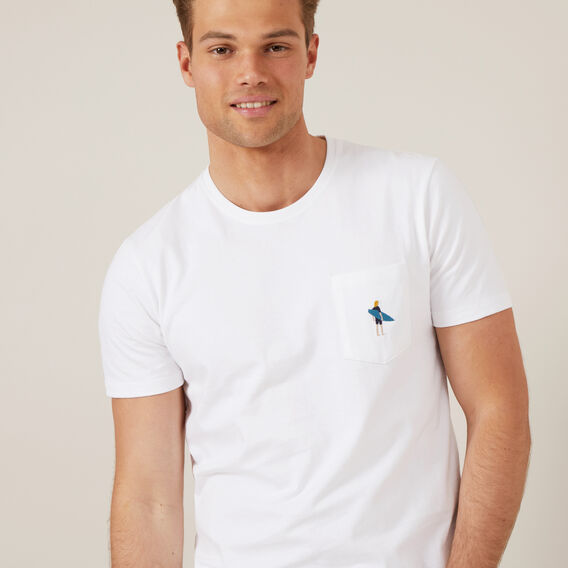 SURFER EMBROIDERY T-SHIRT  WHITE  hi-res