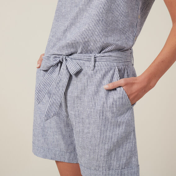LINEN TIE SHORT  STRIPE  hi-res