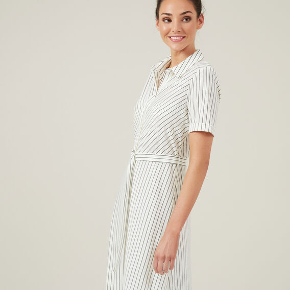 MIDI STRIPE SHIRT DRESS  WHITE  hi-res