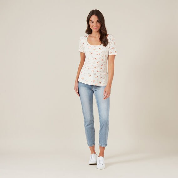FLORAL PRINT TEE  OFF WHITE  hi-res