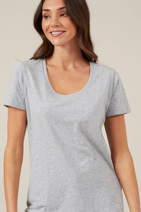 CLASSIC SCOOP NECK TEE  GREY MELANGE  hi-res