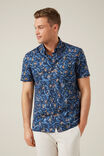 MONKEY LEAF REGULAR FIT SHIRT, MARINE BLUE, hi-res