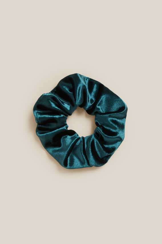 VELVET SCRUNCHIE  FOREST GREEN  hi-res