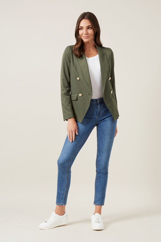 DOUBLE BREASTED BLAZER  KHAKI  hi-res