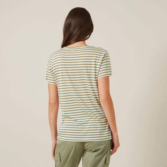 WASHED STRIPE TEE  WASHEDKHAKI/OFFWHITE  hi-res