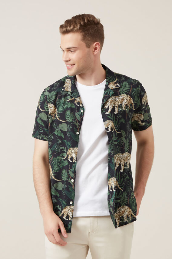 JUNGLE PRINT REGULAR  FIT SHIRT  MARINE BLUE  hi-res
