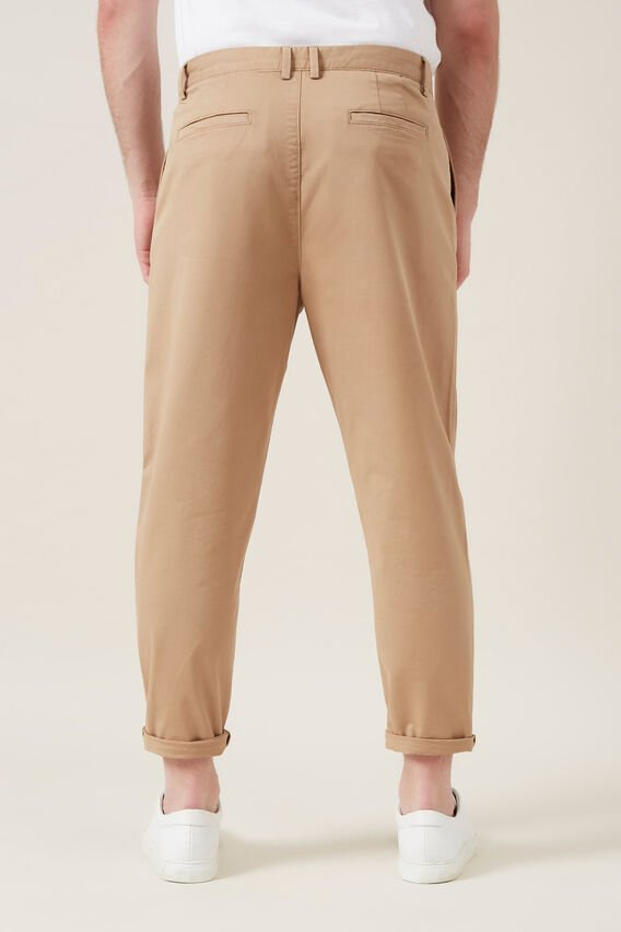 PLEATED STRETCH CHINO  SAND  hi-res