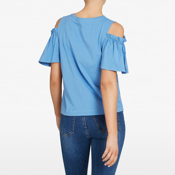 COLD SHOULDER ROUCHED TEE  PASTEL BLUE  hi-res