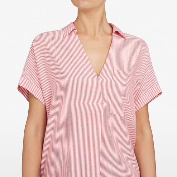 PINSTRIPE SHORT SLEEVE SHIRT  SUMMER WHITE/RED  hi-res
