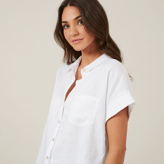 RELAXED LINEN S/S SHIRT  WHITE  hi-res