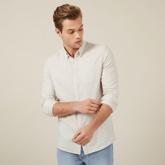 OATMEAL MELANGE CUSTOM FIT SHIRT  OATMEAL MELANGE  hi-res