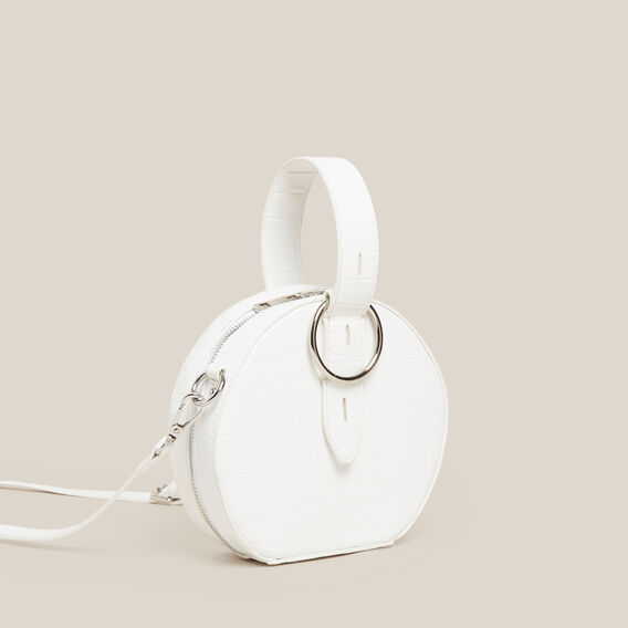 CROC EMBOSSED CIRCLE BAG  WHITE  hi-res