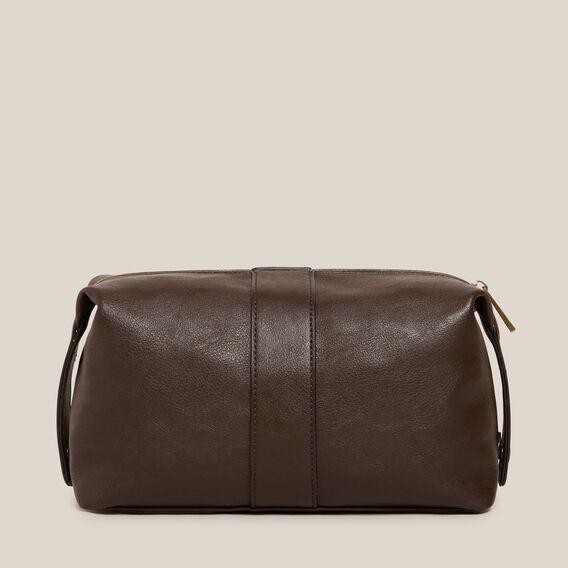 LEATHER LOOK WASH BAG  CHOCOLATE  hi-res