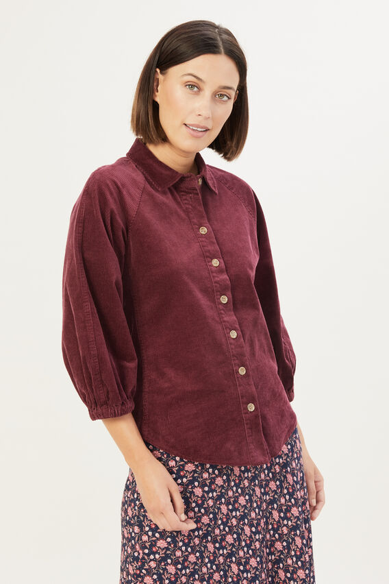 CORDUROY PUFF SLEEVE SHIRT  BERRY  hi-res