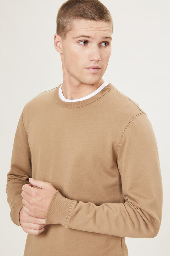 CREW NECK SWEATSHIRT  CAMEL  hi-res