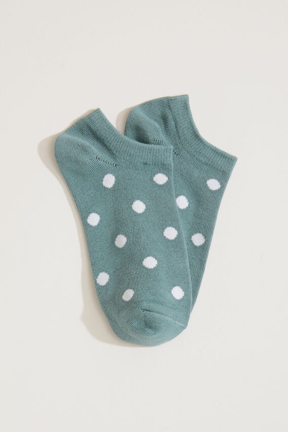POLKA DOT ANKLE SOCK  SAGE/WHITE  hi-res