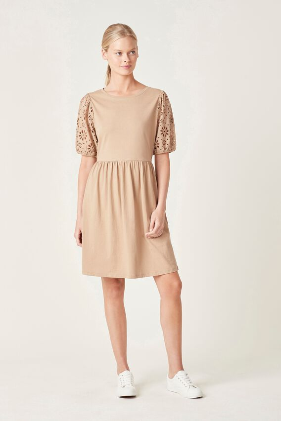BRODERIE SLEEVE JERSEY DRESS  TOASTED VANILLA  hi-res
