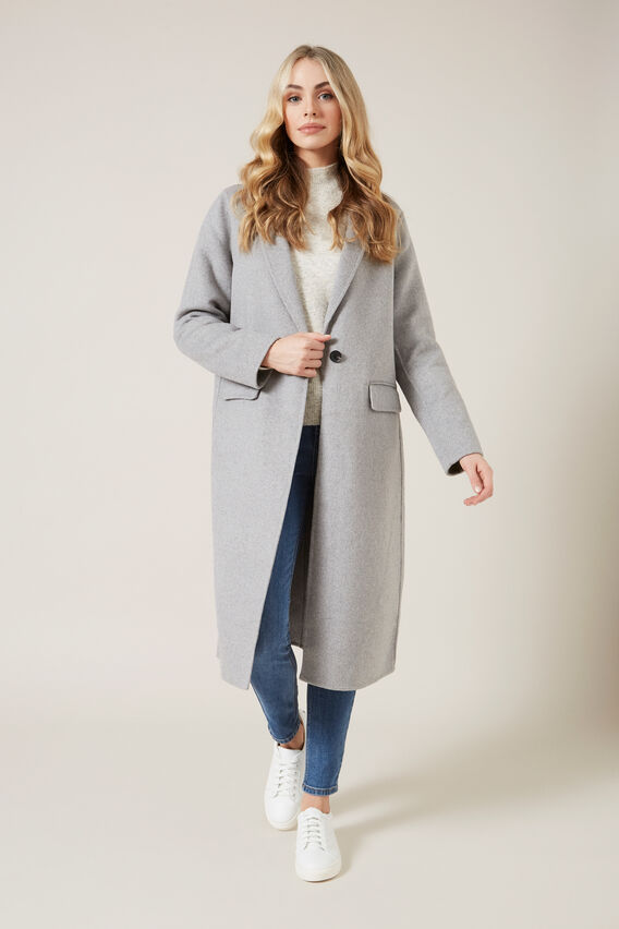 WOOL BLEND COAT  SOFT GREY  hi-res