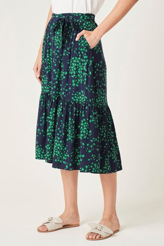 TIERED MIDI SKIRT  FRENCH NAVY/FERN GRE  hi-res